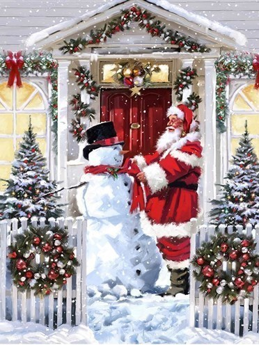 Kerstman met sneeuwpop