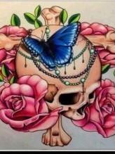 Skull met bloemen