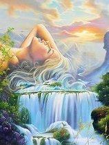 Vrouw en waterval