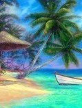 Palmboom, strand, zee